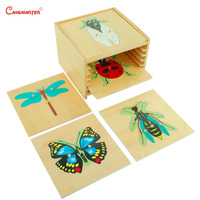 Animal Insect Puzzle Set With Cabinet Wooden Educational Montessori Toys Box for Children Teaching Toy Preschool Game BO002 S3