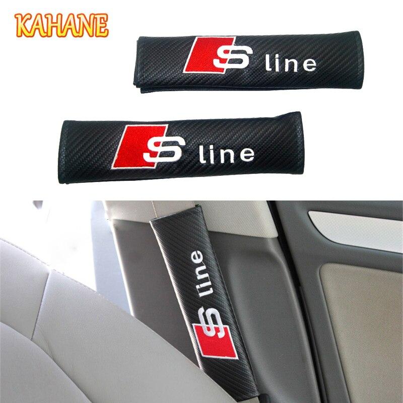 KAHANE 2pcs Carbon Fiber Sline Logo Seat Belt Covers Shoulder Pads FOR Audi A1 A3 A4 A5 A6 A7 A8 Q3 Q5 Q7 TT R8 RS