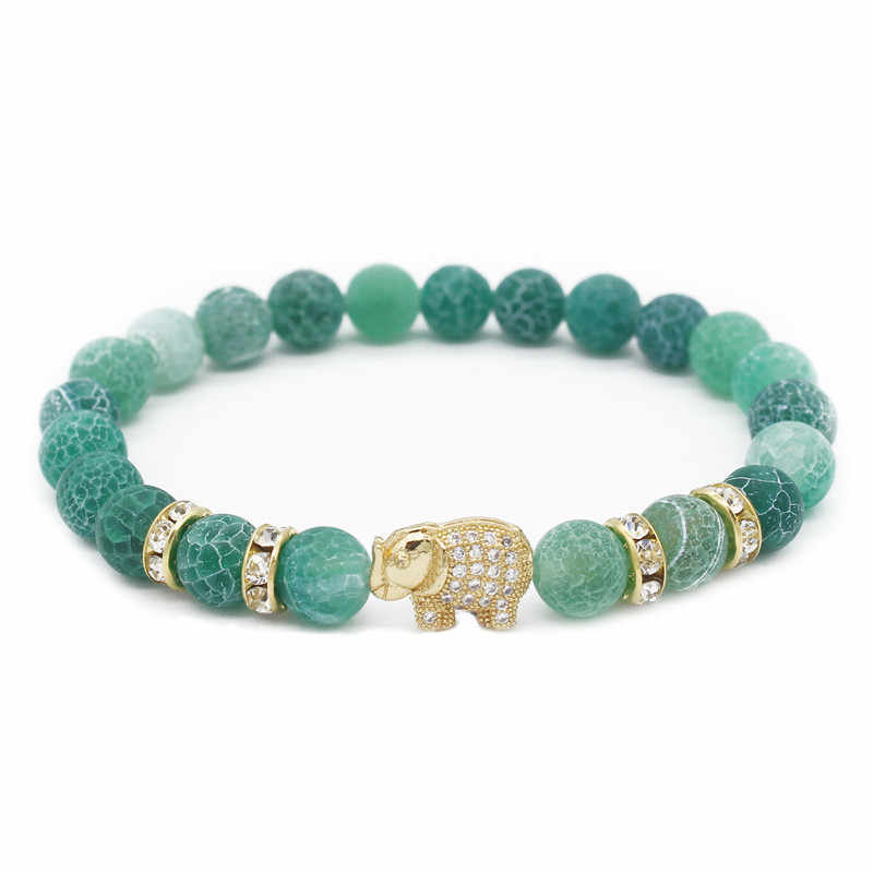 Poshfeel Cz Crystal Elephant Bracelet for Women and Men 8mm Natural Stone Bracelets & Bangles Yogo Jewellery MBR180049