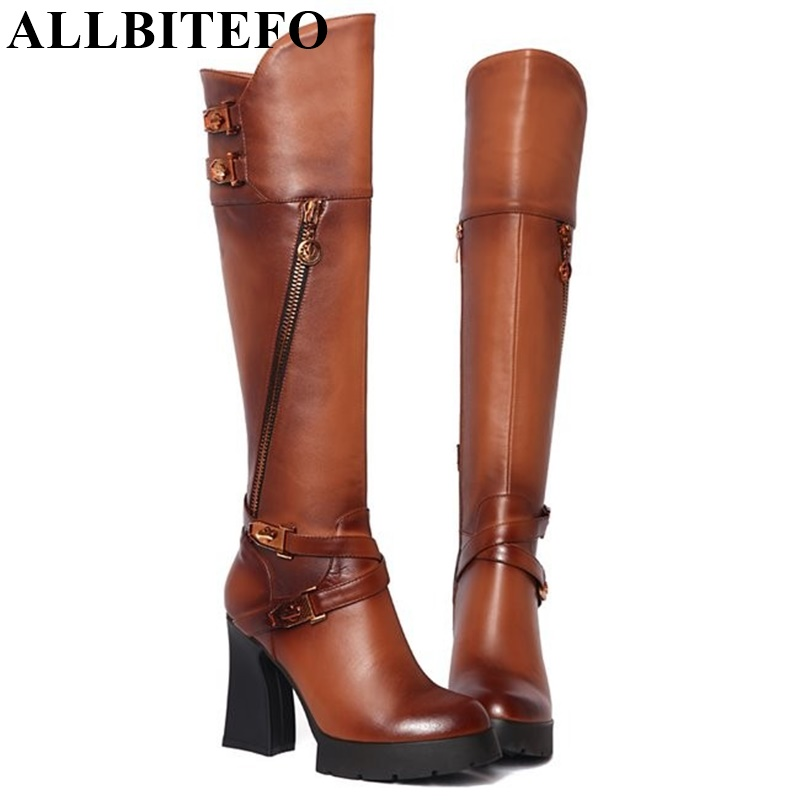 ALLBITEFO Genuine Leather+pu high heel platform buckle women motorcycle boots winter plush snow long boots women knee high boots allbitefo full genuine leather mixed colors chains design fashion brand women knee high boots winter snow zip women boots