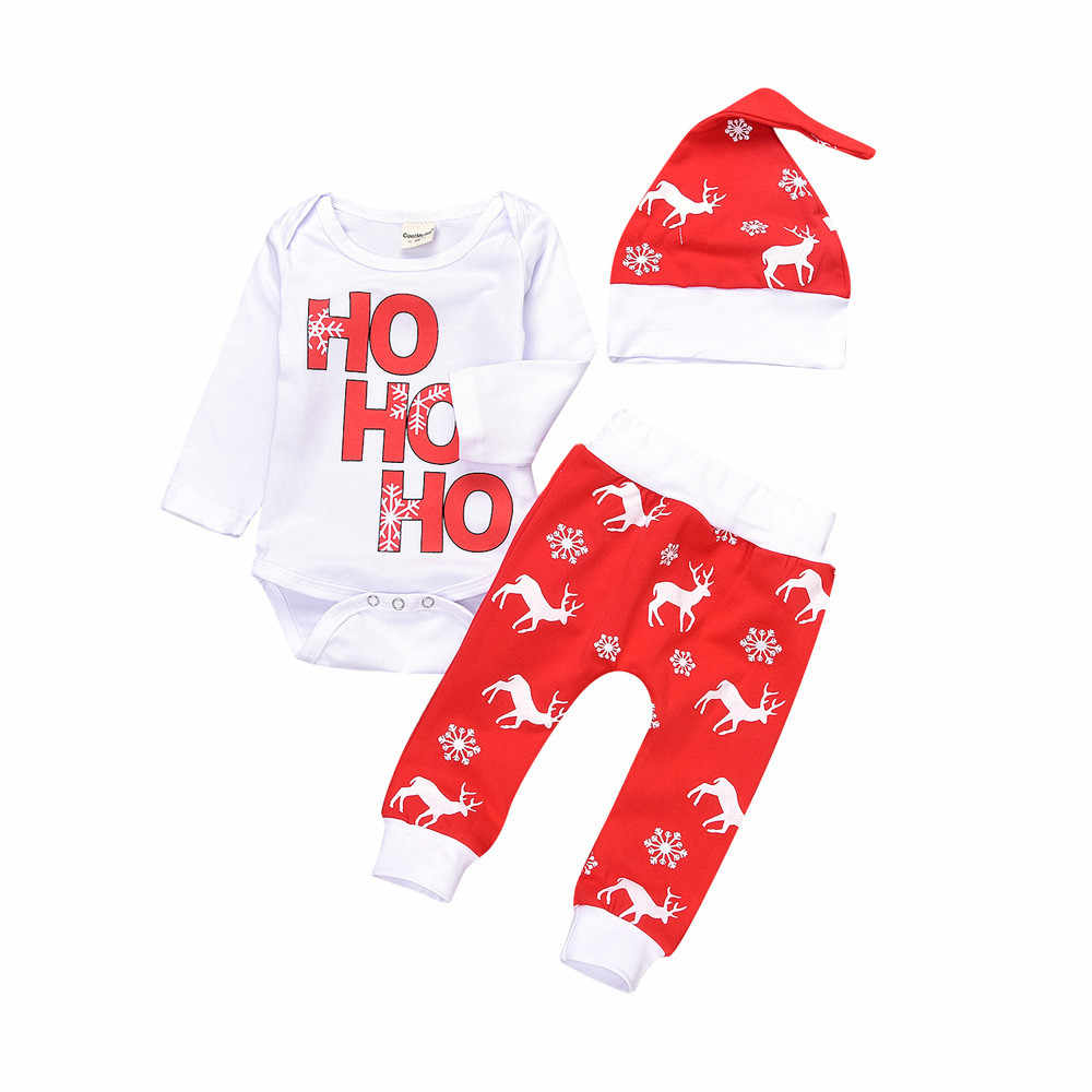 เด็กอ่อนฤดูหนาวทารกแรกเกิดทารกเด็กทารกเด็กชาย Romper Tops + กางเกง Christmas Deer เกล็ดหิมะชุดเด็กเสื้อผ้าคริสต์มาส