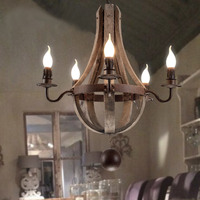 New style American personality retro club cafe chandelier Wooden light creative restaurant Nordic Iron Bar lamp