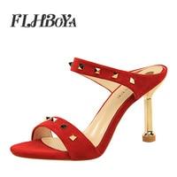 2019 New Summer Fashion Metal High Heel Sandals Shoes For Women Slingback Thin Heels Ladies Pumps Female Red Rivet Slip on Shoe