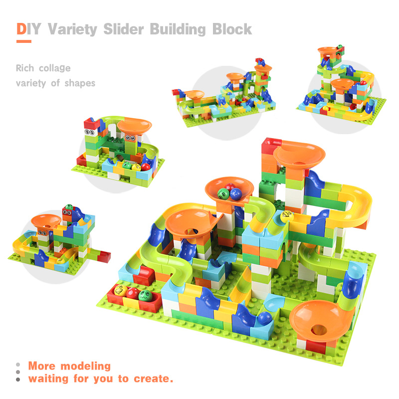 224 pièces marbre course course labyrinthe piste de balle blocs de montage jouets entonnoir glisser grande taille briques Compatible Duploed bloc