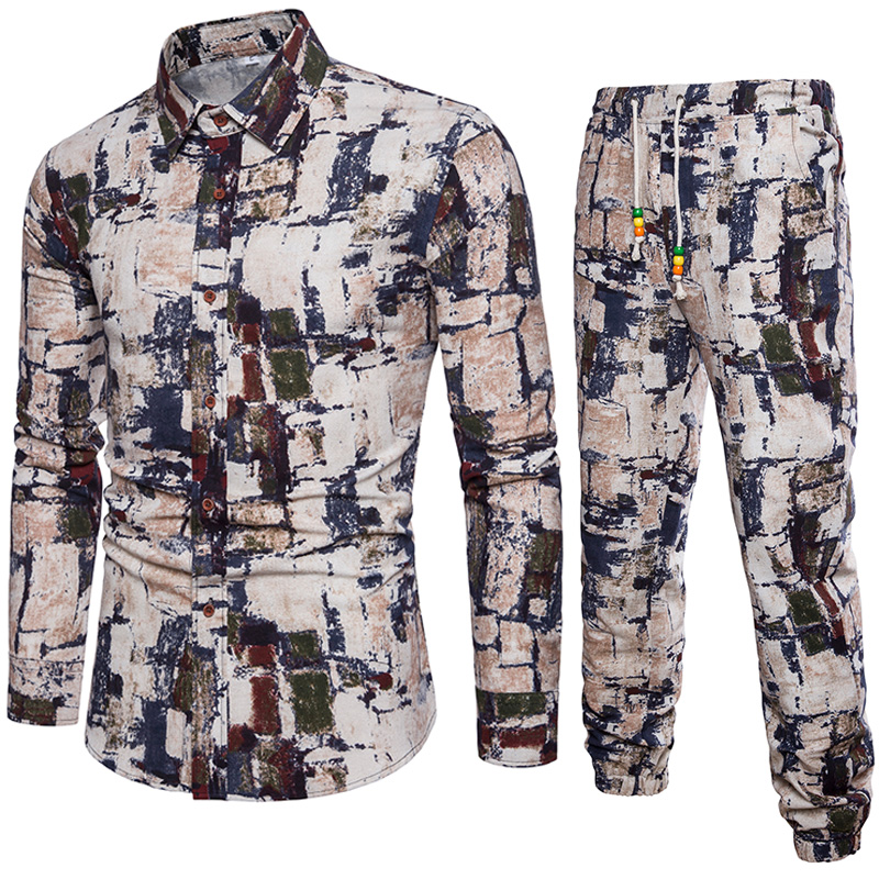 Рубашка + Штаны Для мужчин S Костюмы 2018 Для мужчин рубашка с длинным рукавом Для мужчин повседневная рубашка высокой моды Для мужчин S Рубашк...