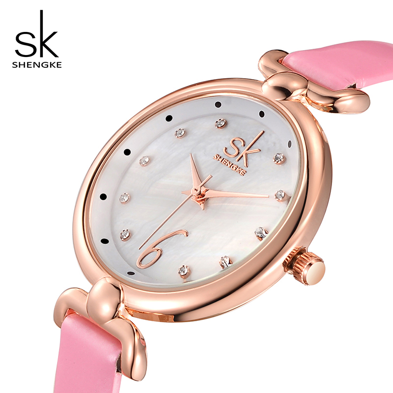 Shengke Watches Women Brand Wrist Watch Luxury Shell Dial Leather Quartz Watch Ladies Clock Relogio Feminino 2018 SK #K0002 2018 women messenger bags vintage cross body shoulder purse women bag bolsa feminina handbag bags custom picture bags purse tote