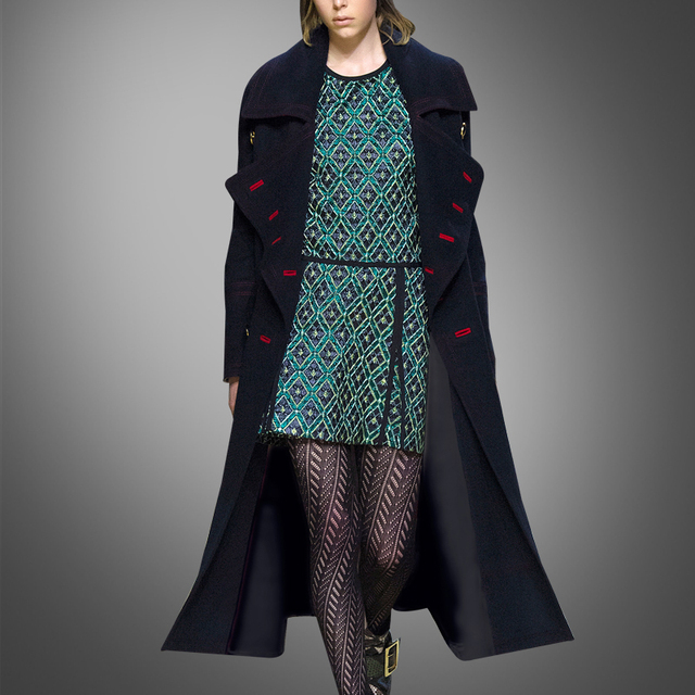 Autumn and winter are slim long wool coat and wool coat