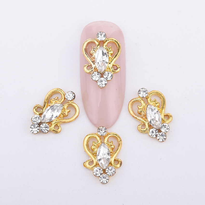 10pcs  alloy gold nail decoration charms new design glitters rhinestones gems back curved 3d nail art jewels supplies 2018 Y995