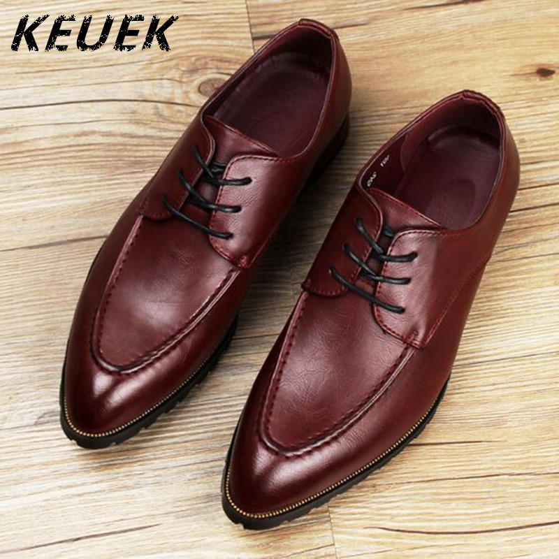 Men Casual Business Dress Shoes Pointed Toe Oxfords Youth Flats Male Lace-Up Wedding Shoes 022
