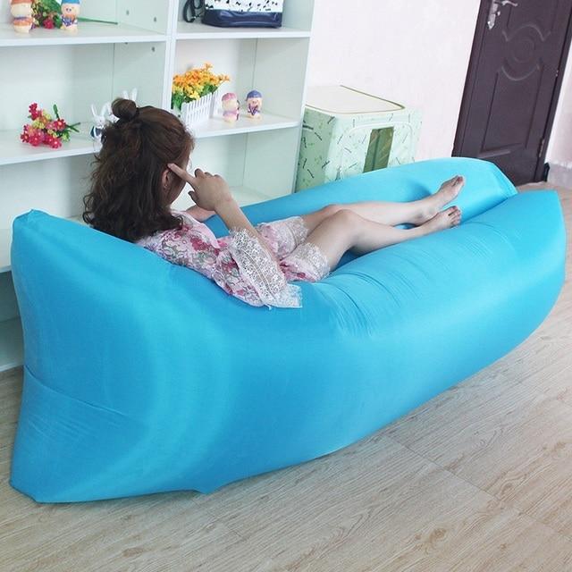 Portable Waterproof Inflatable Garden Sofa Lazy Leisure Air Sofa Bed Camping Hiking Travel Beach Lay Air Sleeping Bag Polyester