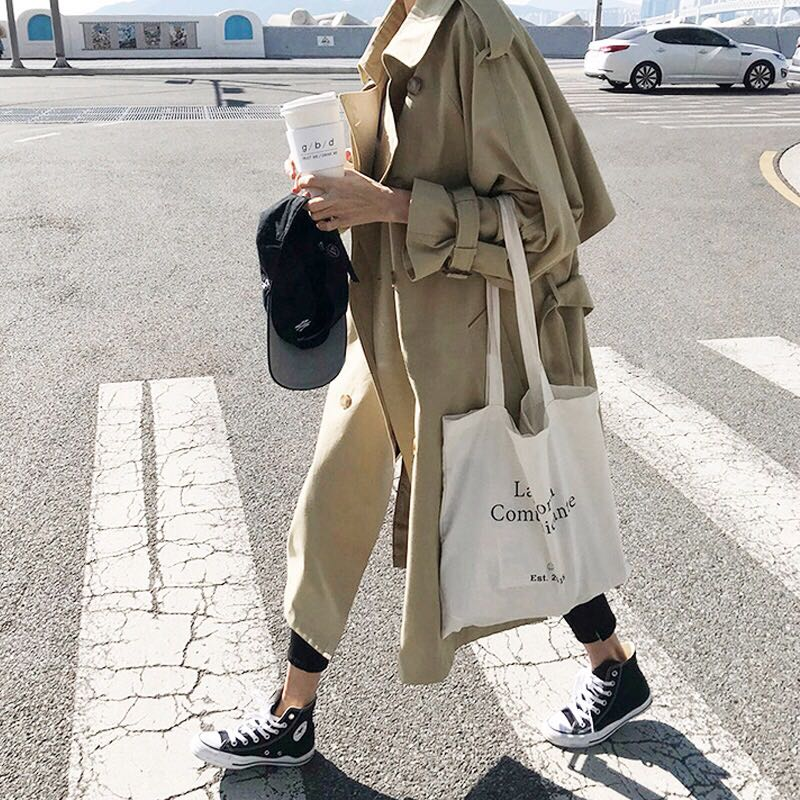Spring Autumn New Women's Casual Trench Coat Oversize Double Breasted Vintage Outwear Sashes Chic Cloak Female Windbreaker 9