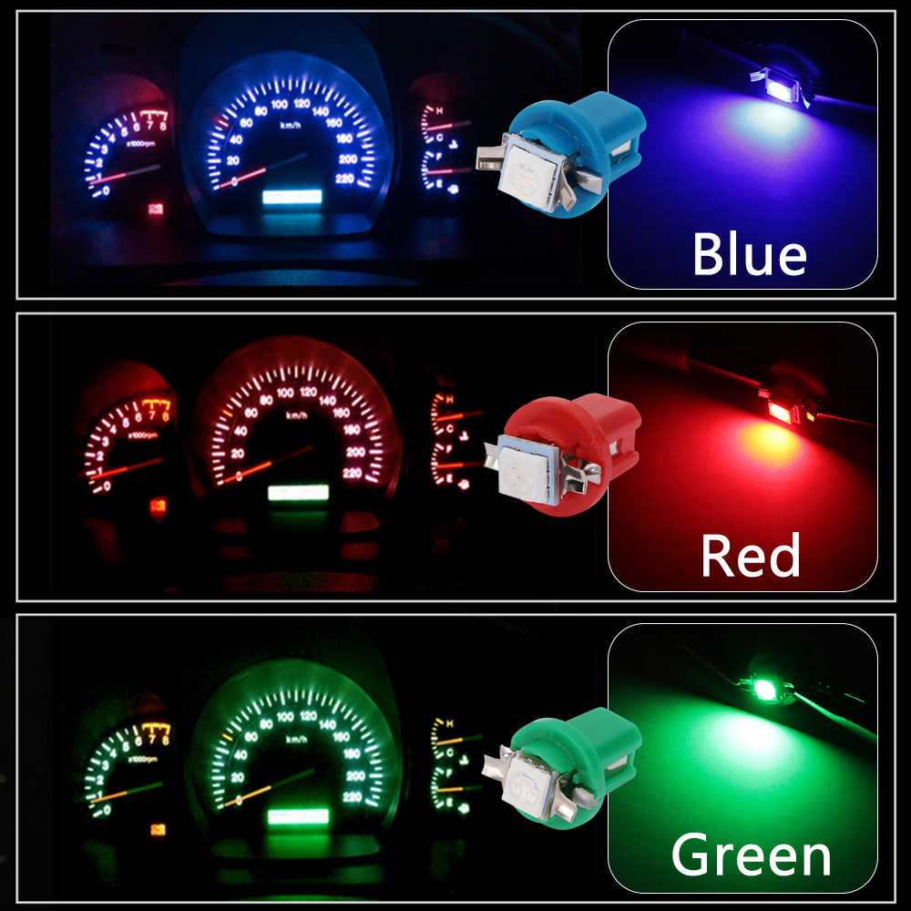 10Pcs Led Licht Auto Gauge Speed Dash Bulb Dashboard Instrument Licht Wedge Interieur Lamp B8.5D 509T B8.5 5050 led 1 Smd T5 Lamp