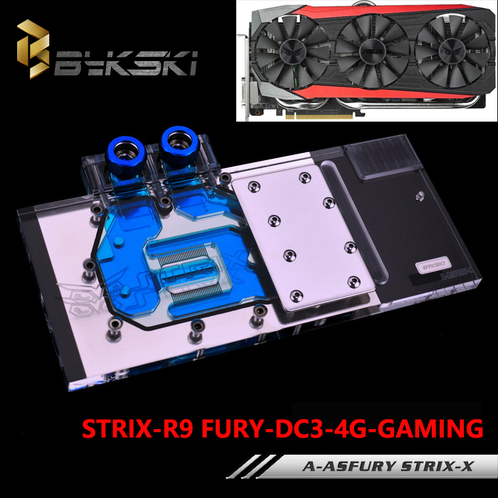 BYKSKI A-ASFURY STRIX-X Full Cover Graphics Card Block use for ASUS STRIX-R9-FURY-DC3-4G-GAMING Video Card Block RGB Controller computer video card cooling fan gpu vga cooler as replacement for asus r9 fury 4g 4096 strix graphics card cooling