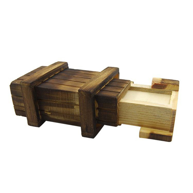Puzzles Vintage Wooden Puzzle Box with Secret Drawer Magic Compartment Brain Teaser Wooden Toys Puzzles Boxes Kids Wood Gift fun