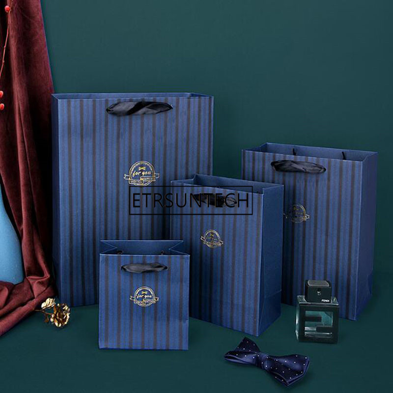 Gift Bag With Handles Classic Blue Striped Paper Gift Bag