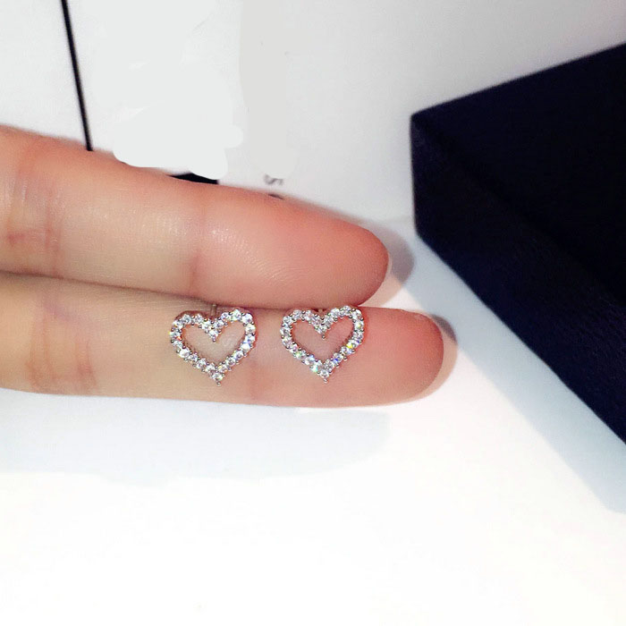 small Stud Earrings For Women 925 sterling silver Jewelry Heart Brincos Bridal Wedding Engagement Romantic Bijouterie