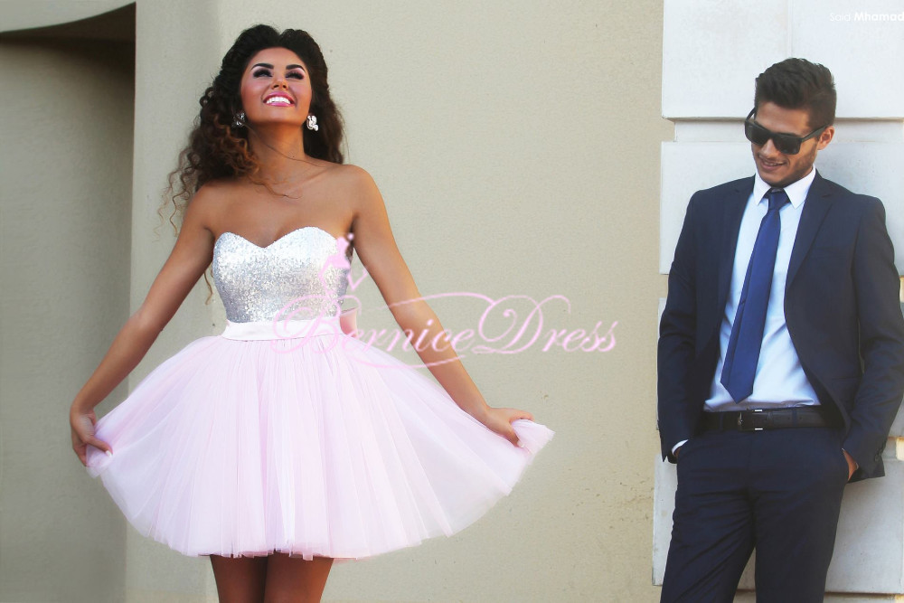 Cheap Hot Sale Short Prom Dresses Sweetheart Top Sequins Tulle Light
