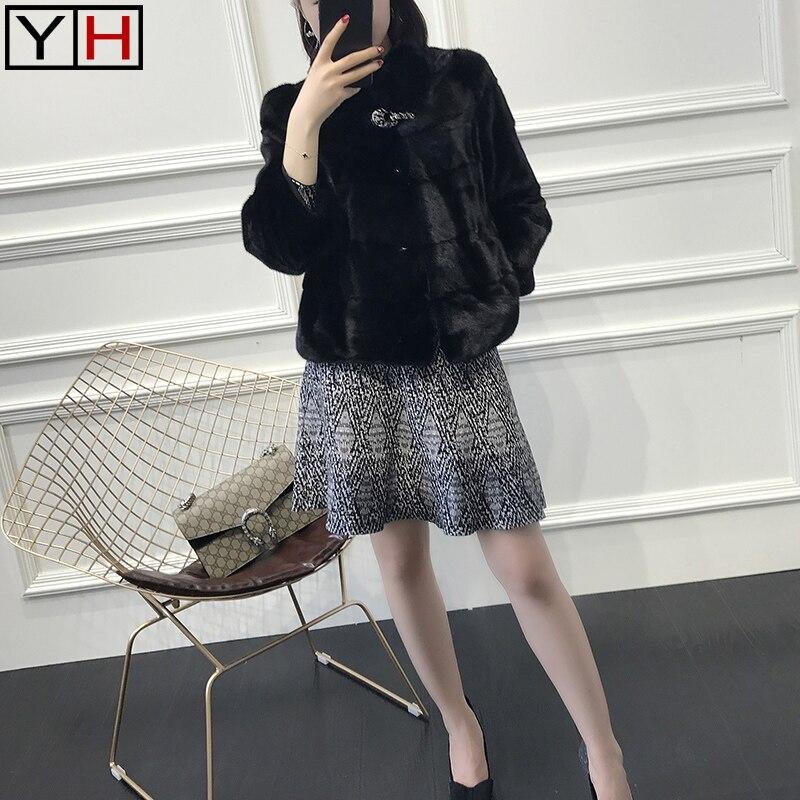 Réel Veste Vison 2018 Mode Lady Hiver Automne Black Survêtement Naturel Luxe Fourrure De HYwqT6AxqE