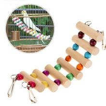 1Pcs Hot Wooden Colorful 4 Styles Small Birds Toys Pet Toy Accessories Drawbridge Bridge Wooden Singing Cockatiel Parrot Toys
