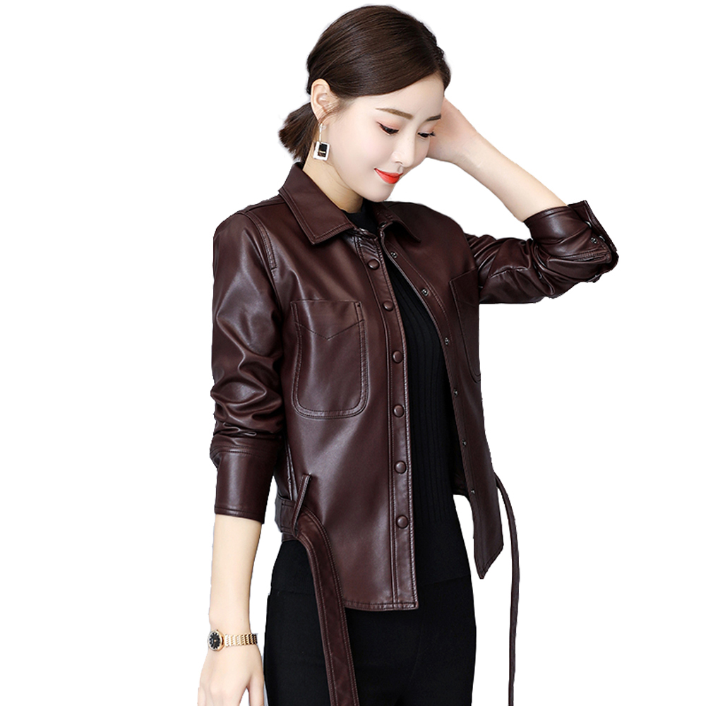 Eastokes Autumn/Winter high quality   leather   Coats Fashion Short Faux   leather   Jackets multiple colour Single-breasted with belt