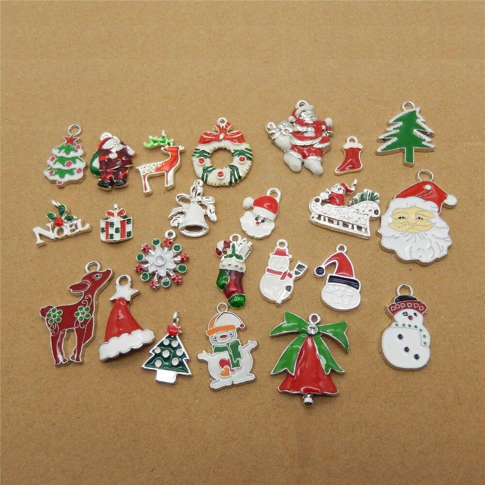 15PCS Vintage Alloy Colorful Christmas Pendant Charms Send Randomly 38922