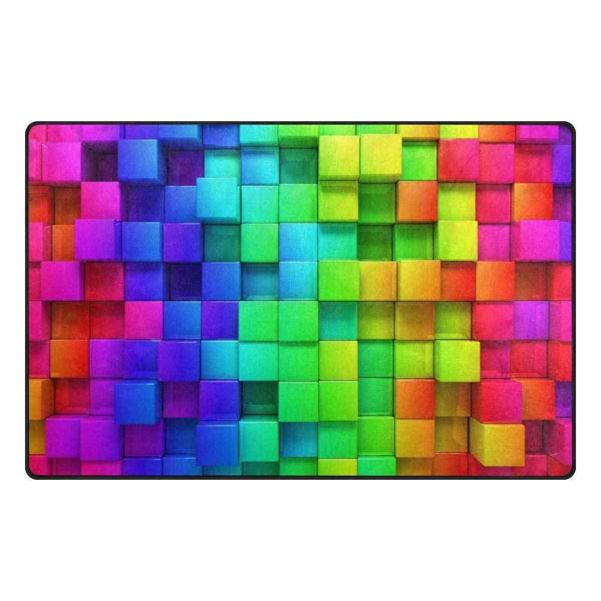 Natural Wooden Rainbow Colored Boards Bath Rugs, Non-Slip Doormat Floor Entryways Outdoor Indoor Front Door Mat