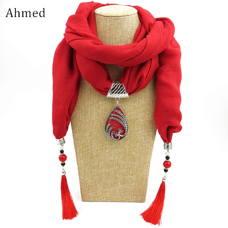Ahmed Winter Ethnic Beads Tassel Scarf With Peacock Pendant Fringe Jewelry Long Scarf Necklace For Women Jewelry Accessories chic various plaid pattern tassel winter scarf for women