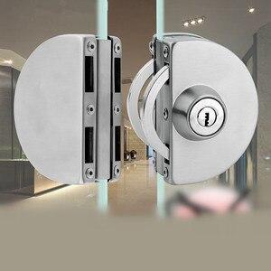 Image 1 - 1 סט כפול פתוח זכוכית מנעול דלת נירוסטה כפול בורג הזזה דלת מנעול 10 12mm משרד זכוכית בטיחות