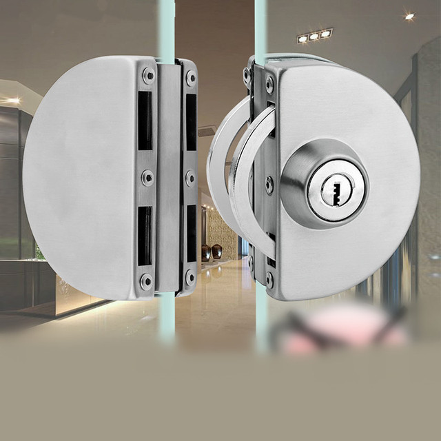 1 סט כפול פתוח זכוכית מנעול דלת נירוסטה כפול בורג הזזה דלת מנעול 10 12mm משרד זכוכית בטיחות