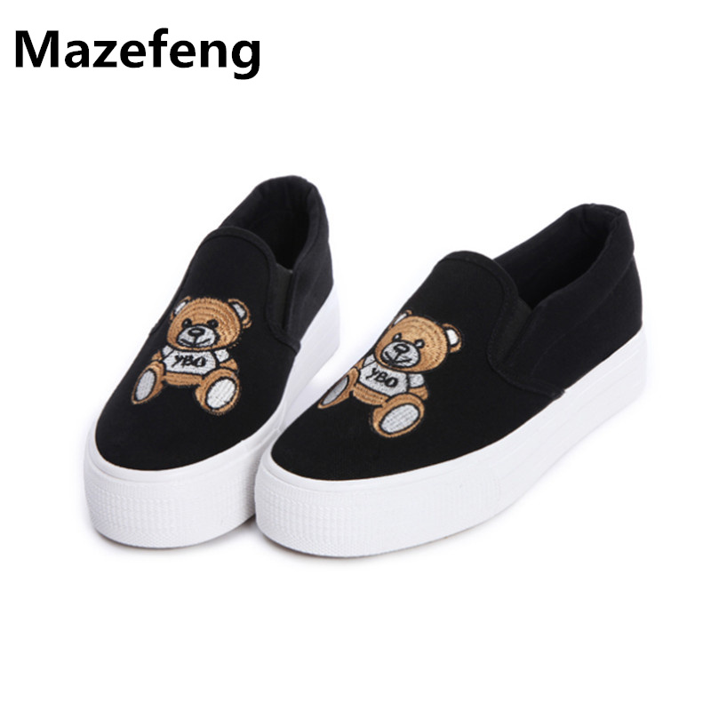 Spring lazy thick soled canvas shoes cartoon animation casual shoes woman little bear loafer mujeres zapatos women cartoon loafers 2015 casual canvas flats shoesladies trifle thick soled creepers footwear mujer zapatos
