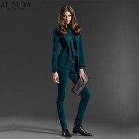 Dark Green 2 piece set women velvet female business suit blazer with pant slim fit ladies office uniform formal trouser suit