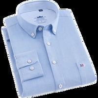 Venta caliente de los hombres de negocios Camisa de algodón Oxford vestido blanco camisa de manga larga de los hombres de color sólido profesional camisa social masculina