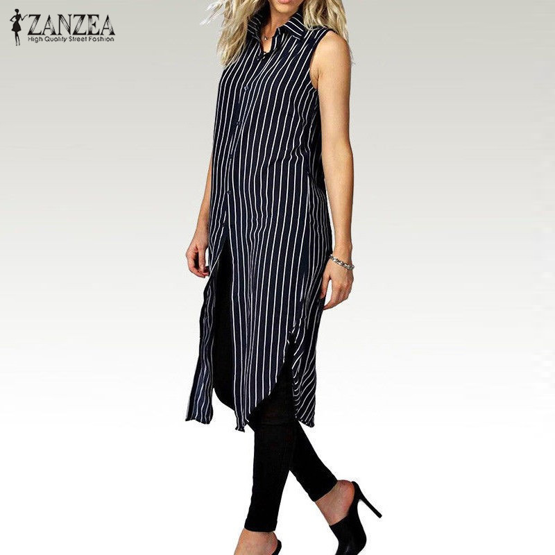 2019 Күзгі ZANZEA Women Stripe Print көйлек көйлек Ladies Lapel Tlewless Split And Casual Loose Long Tops Vestidos Plus Size