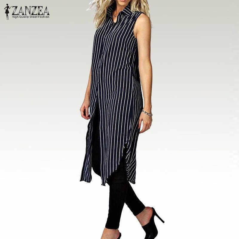2020 가을 ZANZEA 여성 스트라이프 프린트 셔츠 드레스 숙녀 옷깃 민소매 스플릿 밑단 캐주얼 루즈 롱 탑스 Vestidos Plus Size