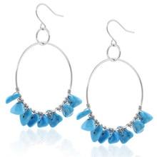 2019 Top Fashion  Boho Natural Blue Circle Hoop earrings hoop 925 sterling silver hoops pendants
