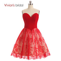 Red Black Lace Bridesmaid Dress Above Knee Sweetheart In Stock Cheap Brides Maid Dress