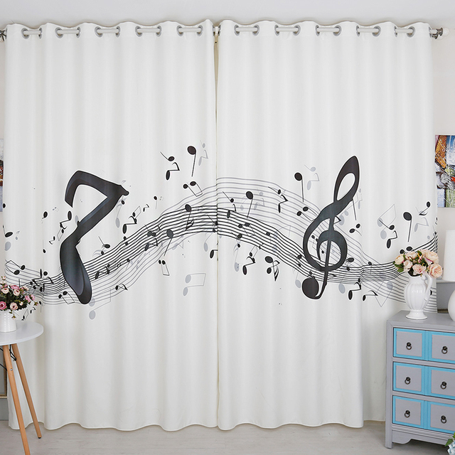 Custom Made 2x Grommet Window Draperies Curtain Nursery Kids Children Room Dressing 200cm X 260cm Stave Music White In Curtains From Home