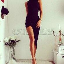 Cuerly Women Bodycon Bandage Dress  2019 sexy Diagonal Hem Sleeveless O neck Evening Party Short Vestido De Festa