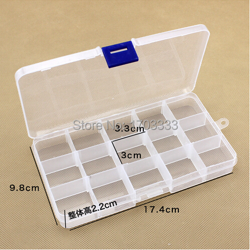 Empty 15 Compartment Plastic Clear Storage Box For Jewelry Rainbow