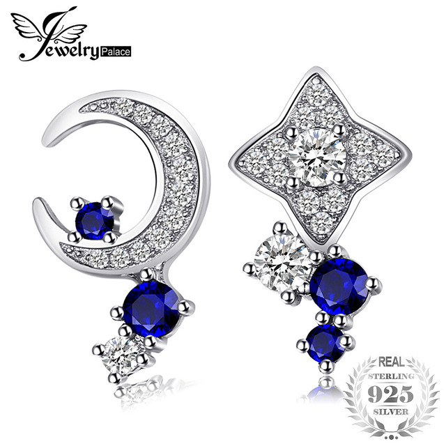 JewelryPalace Moon & Star Created Sapphire Stud Earrings 100% Real 925 Sterling