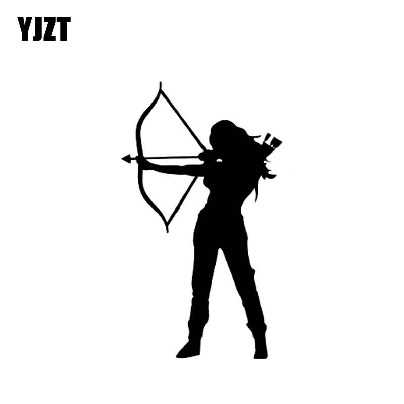 YJZT 9.1CM*15.6CM Archery Vinyl Decal Car Sticker Hunting Bow And Arrow Woman Warrior Black/Silver C10-02005