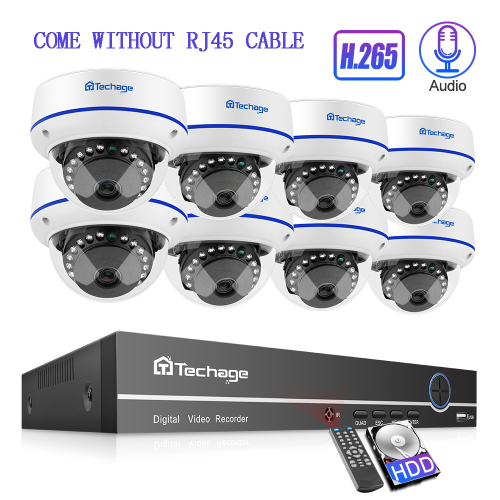 Techage 8CH H 265 1080P POE NVR Security Camera System 4 6 8 Pcs 2MP Dome