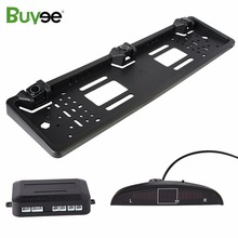 Buyee Car Parking Sensor System Reversing Radar detector kit for EU License Plate Rear Number frame 3 Sensors with Alarm display