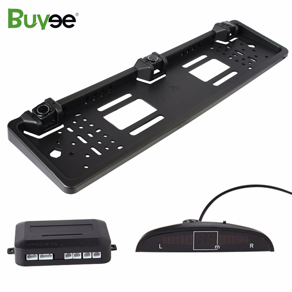 Buyee Car Reversing Parking Sensor System Reversing Radar detector with EU Universal License Rear Number Plate frame 3 sensors