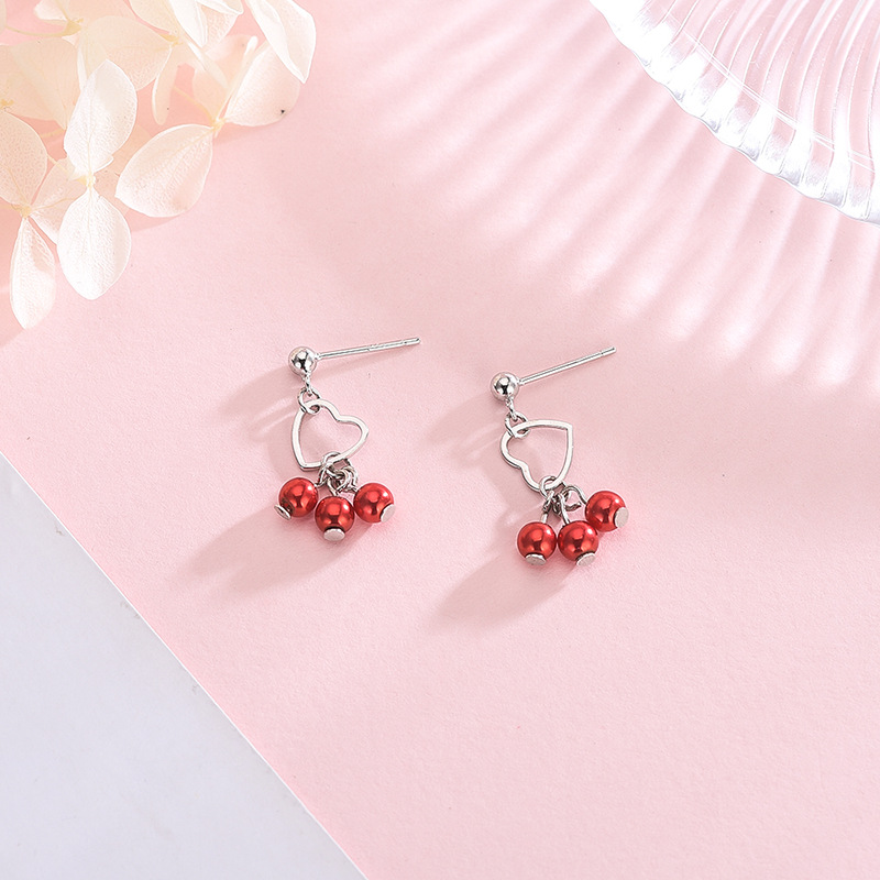 S925 silver earrings female Korean version of the small fresh love red beaded short ear temperament net red earrings in Stud Earrings from Jewelry Accessories