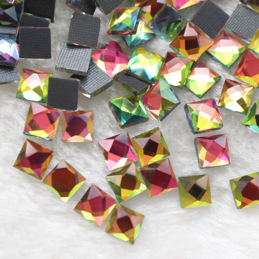 New Big Sale 6x6mm 130pcs/lot Square Rainbow Hot Fix Rhinestones Strass Crystal Trim Flatback Craft
