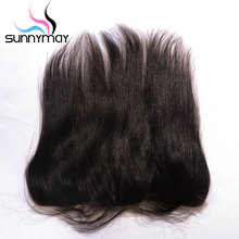 Sunnymay Brazilian Virgin Hair Closure Straight Natural Color Swiss Lace Pre plucked Human Hair Lace Frontal