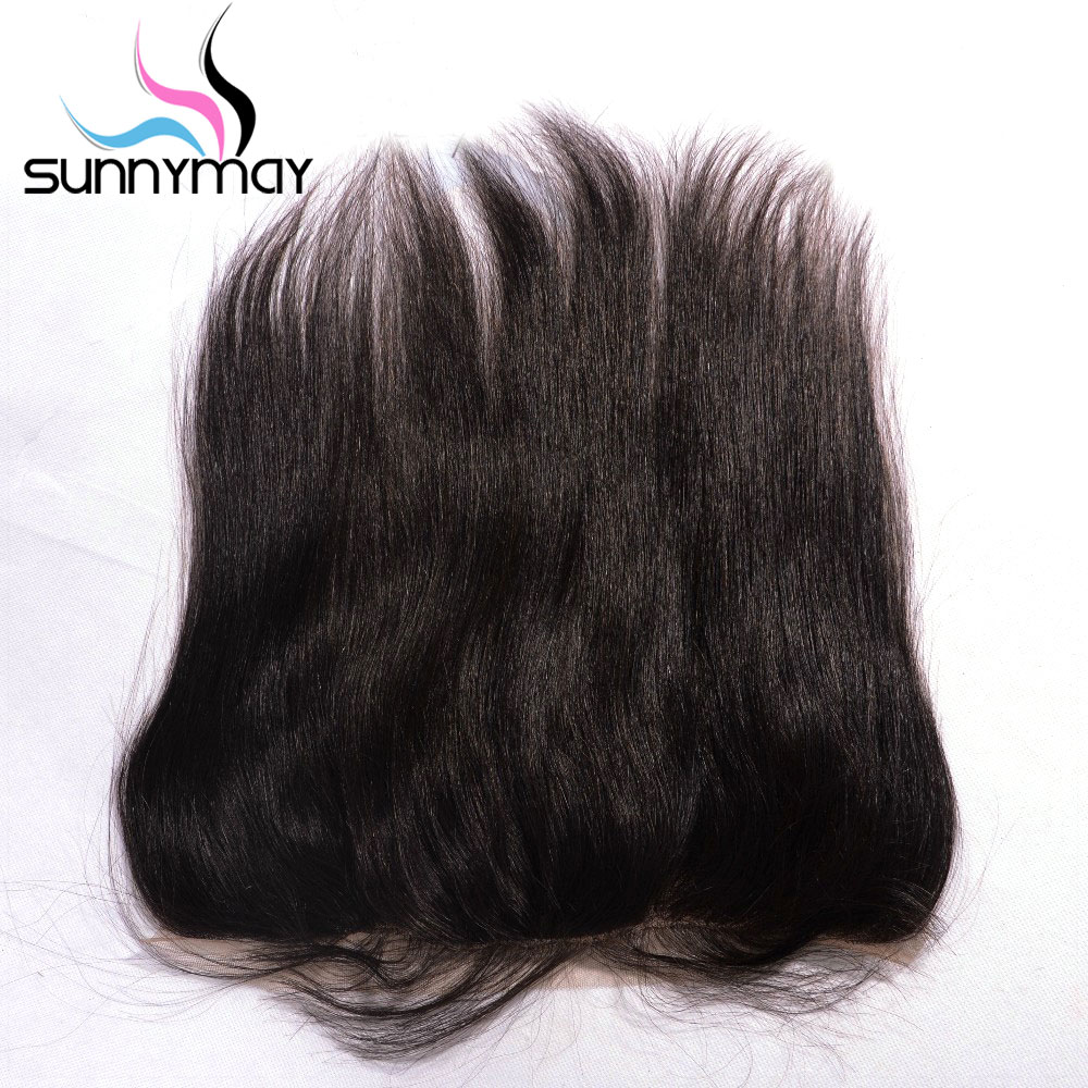 Sunnymay Brazilian Virgin Hair Closure Straight Natural Color Swiss Lace Pre plucked Human Hair Lace Frontal 13×4 Bleached Knots