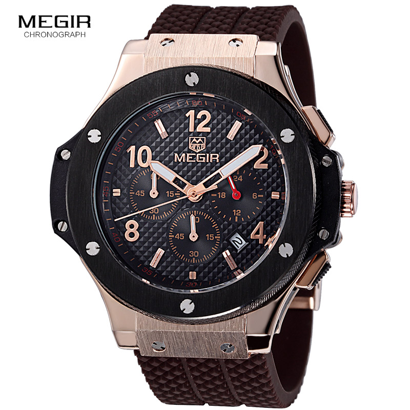 Megir hot fashion chronograph army quartz watches men luminous military sports silicone watch wristwatch man 3002G free shipping