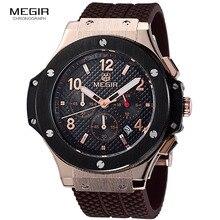 Megir cronógrafo de la manera caliente del ejército de cuarzo relojes hombres militares luminosos deportes de silicona reloj de pulsera hombre 3002G envío gratis